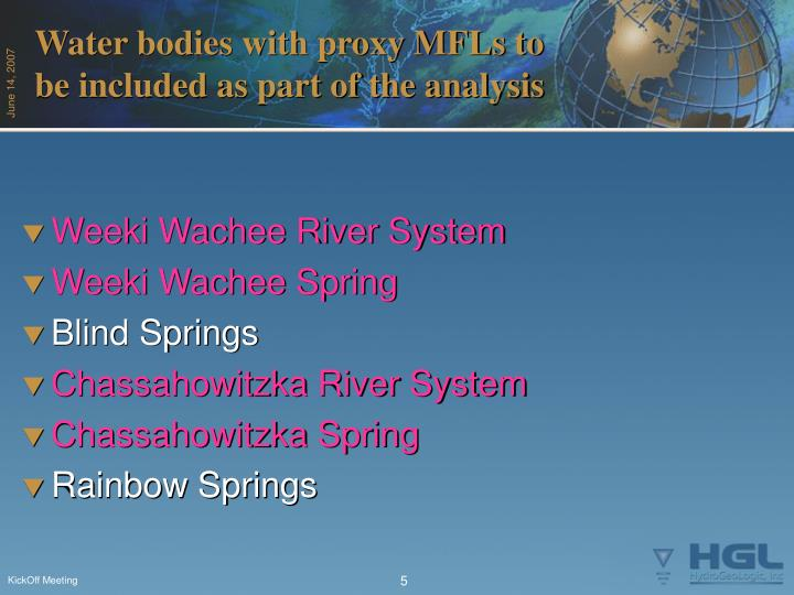 Water bodies with proxy MFLs to be included as part of the analysis
