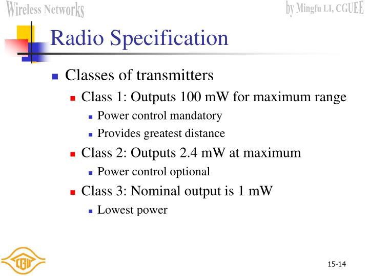 Radio Specification