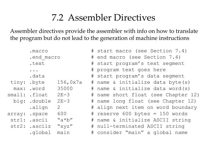 7.2  Assembler Directives
