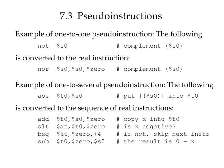 7.3  Pseudoinstructions