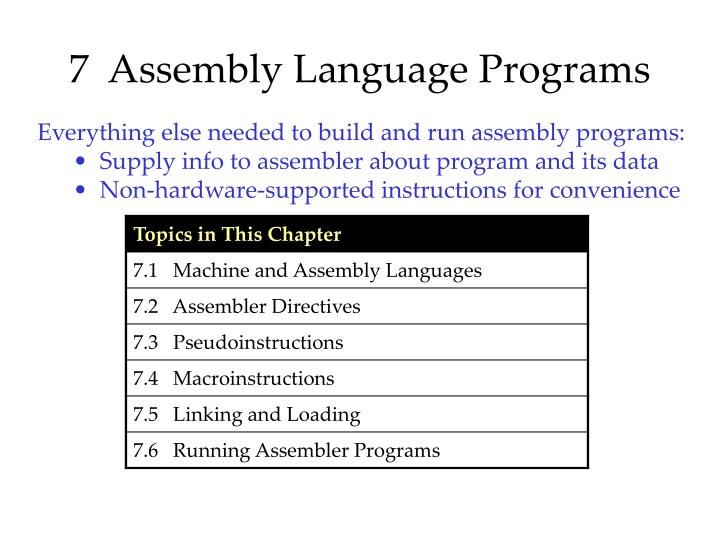 7  Assembly Language Programs