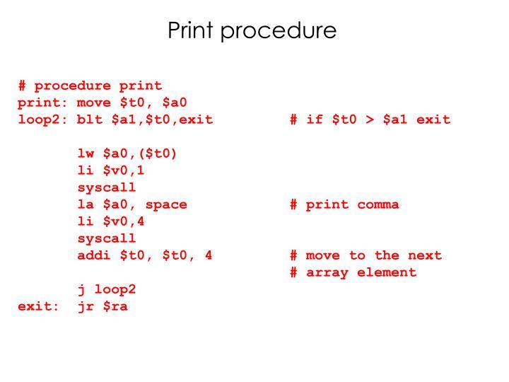 Print procedure