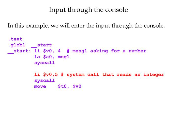 Input through the console