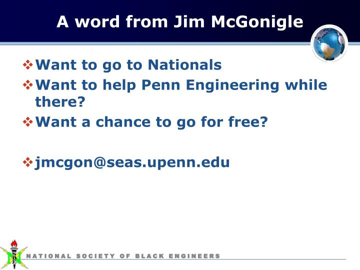 A word from Jim McGonigle