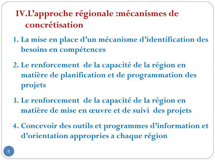 L'approche régionale :mécanismes de concrétisation