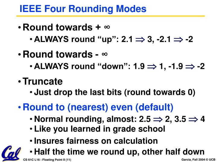 IEEE Four Rounding Modes