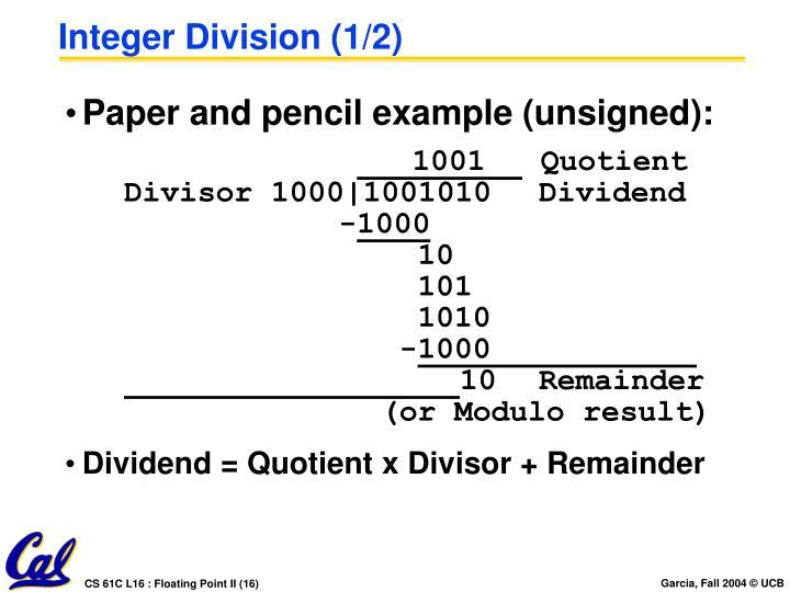 Integer Division (1/2)
