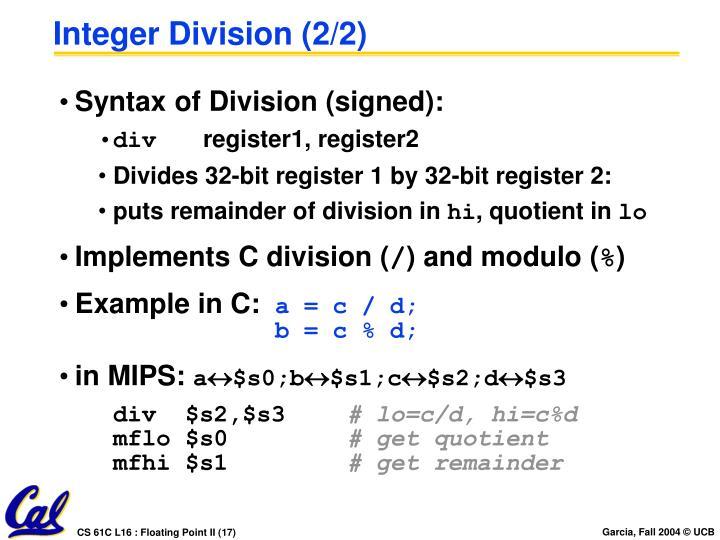 Integer Division (2/2)