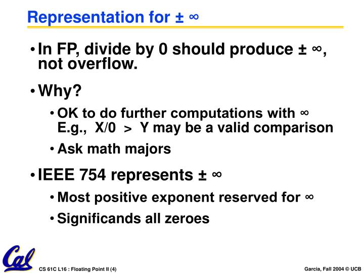 Representation for ± ∞