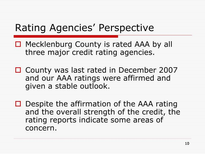 Rating Agencies' Perspective