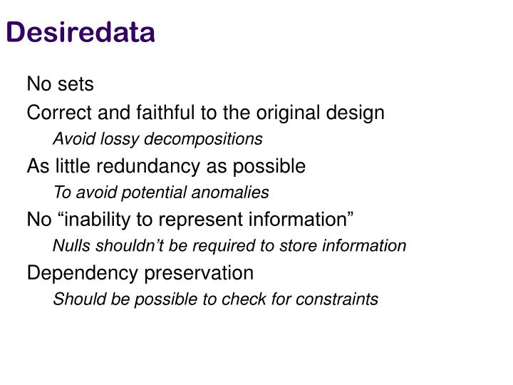 Desiredata