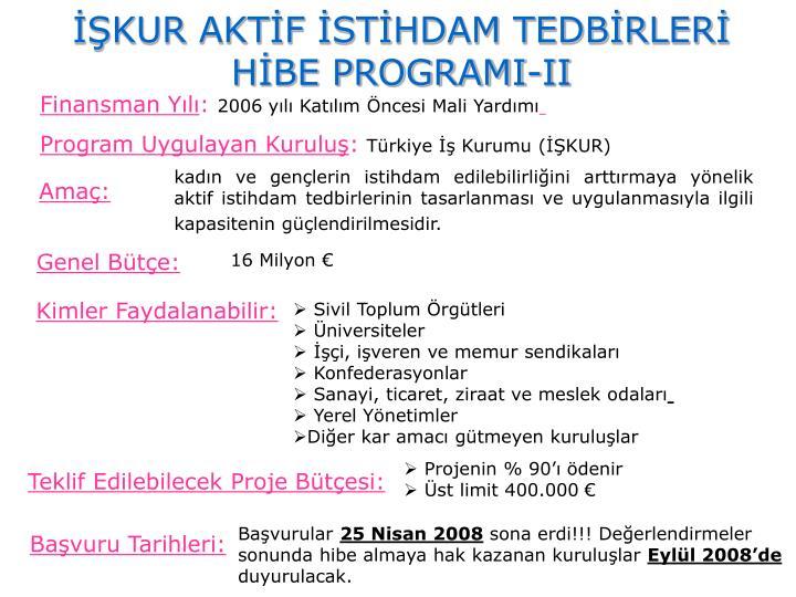 İŞKUR AKTİF İSTİHDAM TEDBİRLERİ HİBE PROGRAMI-II