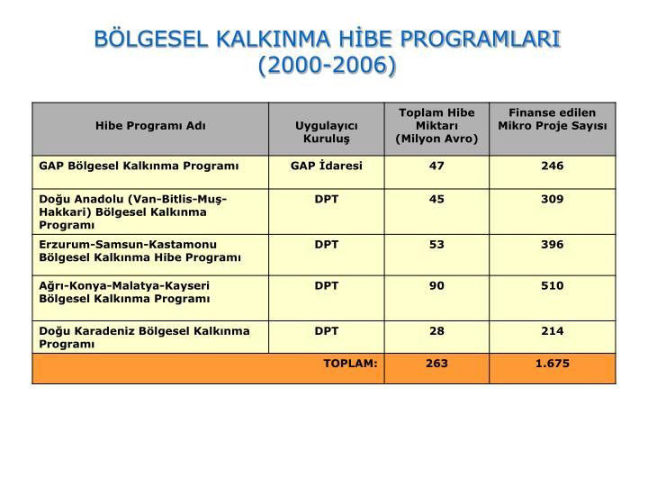 BÖLGESEL KALKINMA HİBE PROGRAMLARI (2000-2006)