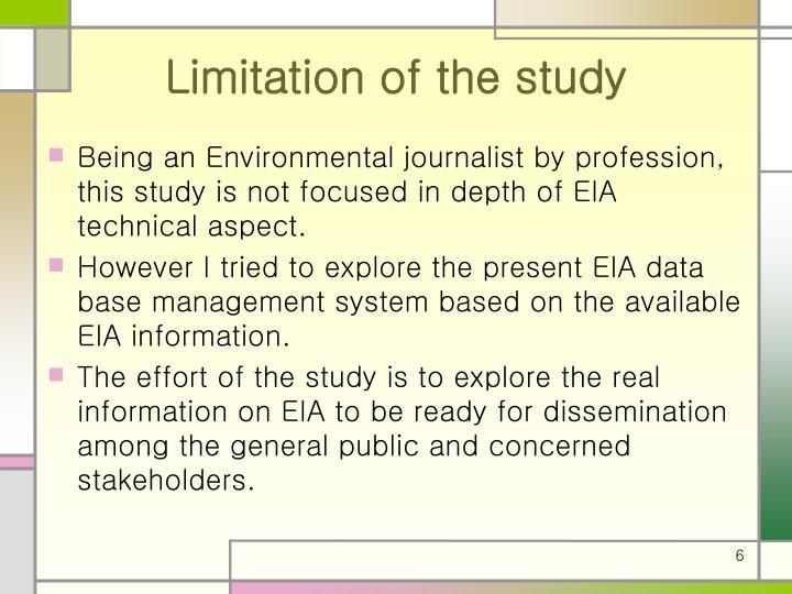 Limitation of the study