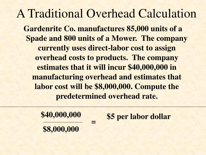 A Traditional Overhead Calculation