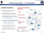 following leads an example