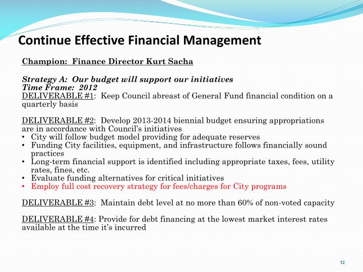 Continue Effective Financial Management