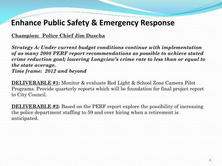 Enhance Public Safety & Emergency Response