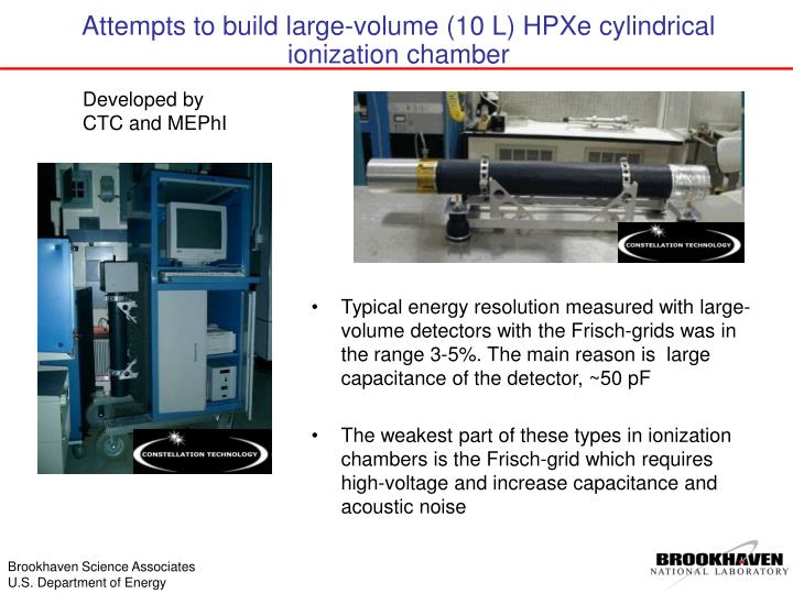 Typical energy resolution measured with large-volume detectors with the Frisch-grids was in the range 3-5%. The main reason is  large capacitance of the detector, ~50 pF