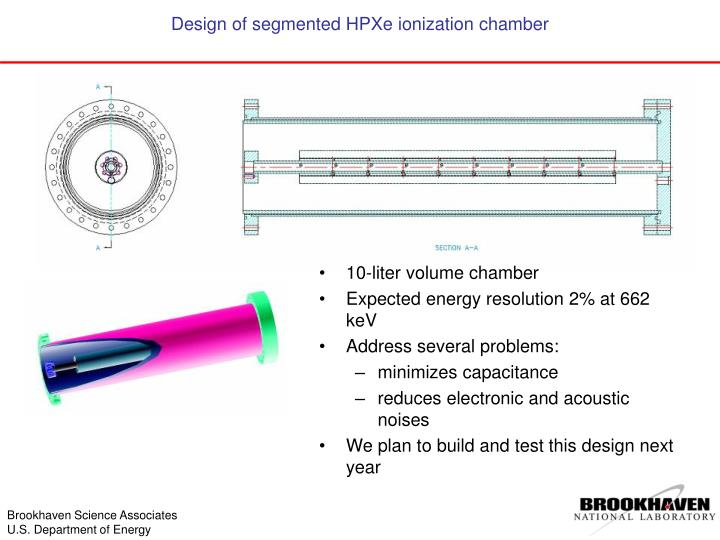 Design of segmented HPXe ionization chamber