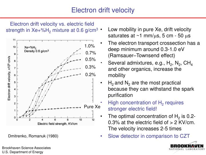 Low mobility in pure Xe, drift velocity saturates at ~1 mm/