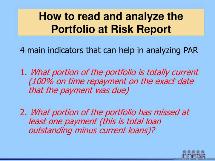 How to read and analyze the Portfolio at Risk Report