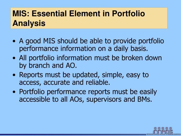 MIS: Essential Element in Portfolio Analysis