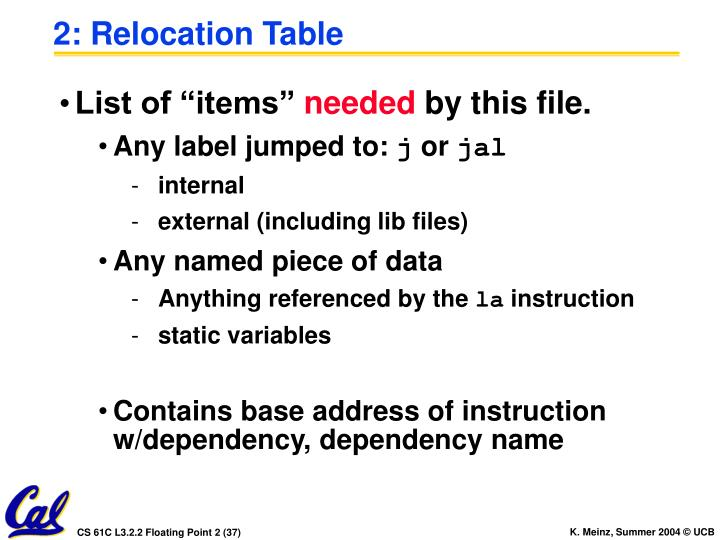 2: Relocation Table