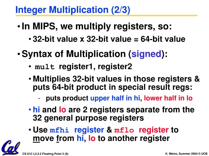 Integer Multiplication (2/3)