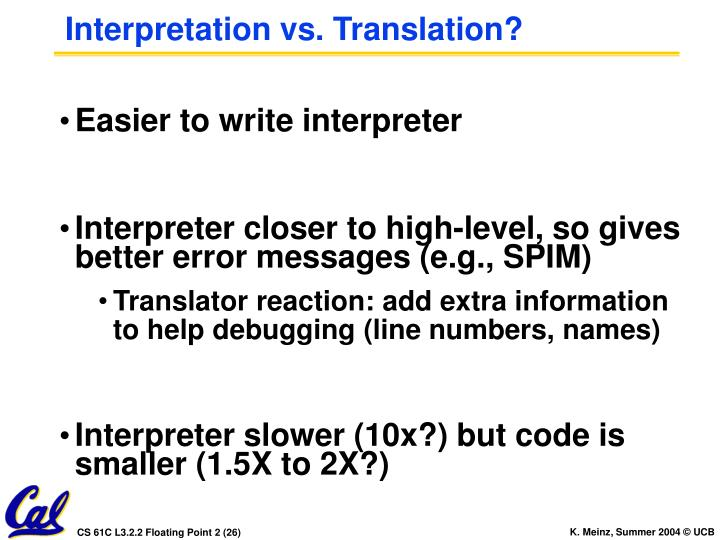 Interpretation vs. Translation?