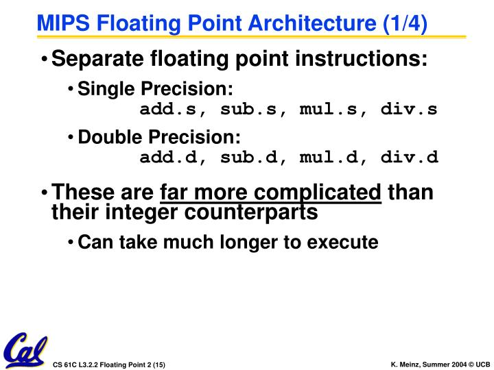MIPS Floating Point Architecture (1/4)