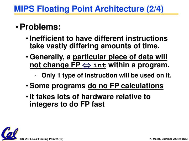 MIPS Floating Point Architecture (2/4)