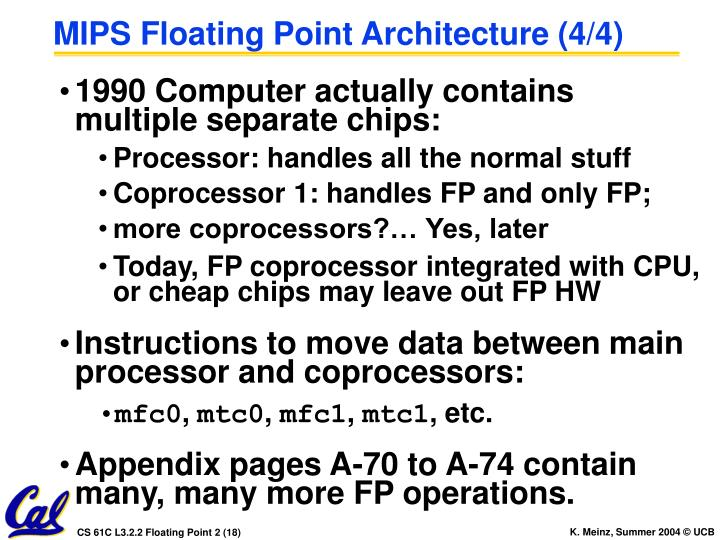 MIPS Floating Point Architecture (4/4)