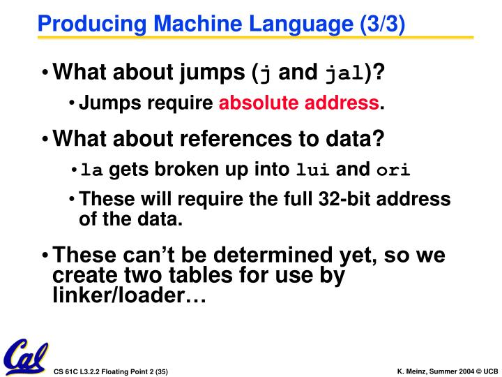 Producing Machine Language (3/3)