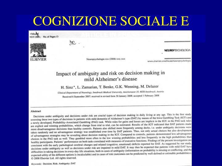 COGNIZIONE SOCIALE E DEMENZA