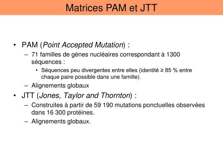 Matrices PAM et JTT