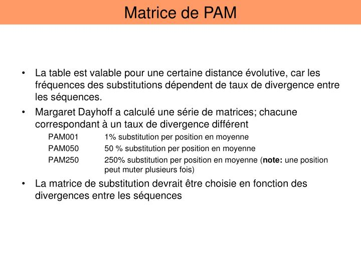 Matrice de PAM