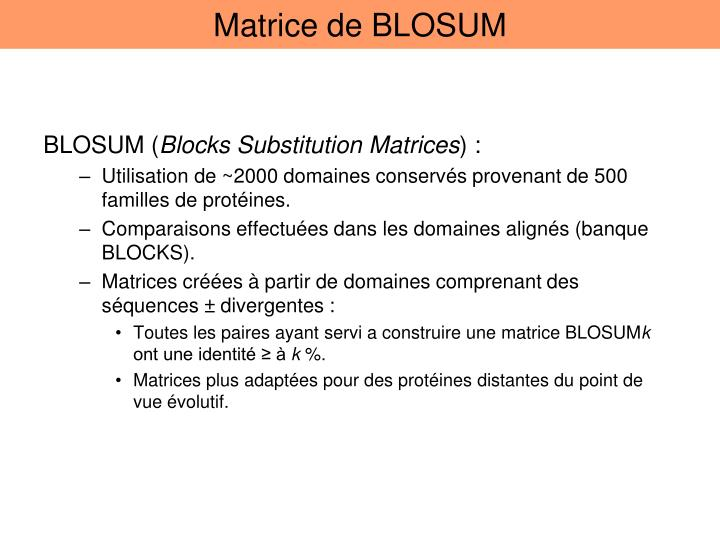 Matrice de BLOSUM