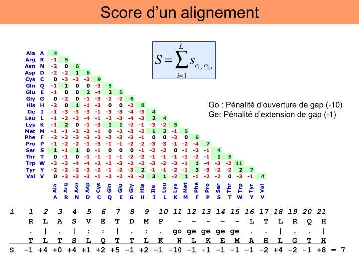 Score d'un alignement