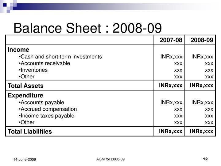 Balance Sheet : 2008-09