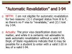 automatic revalidation and i 94
