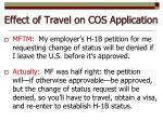 effect of travel on cos application