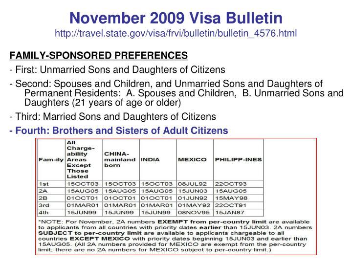 November 2009 Visa Bulletin