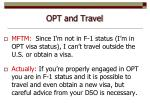 opt and travel