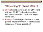 resuming f status after h