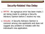 security related visa delay