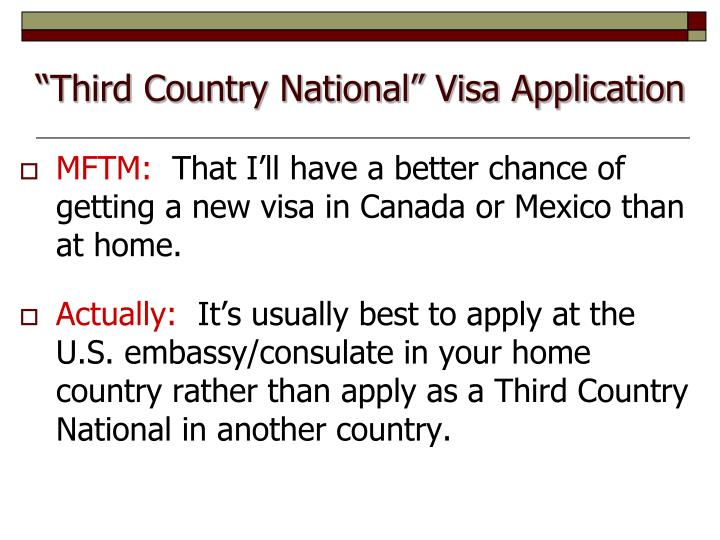 """Third Country National"" Visa Application"