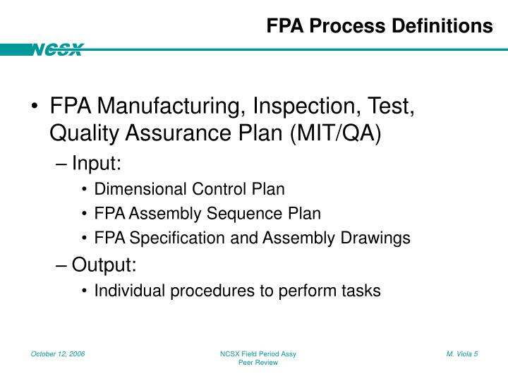 FPA Process Definitions
