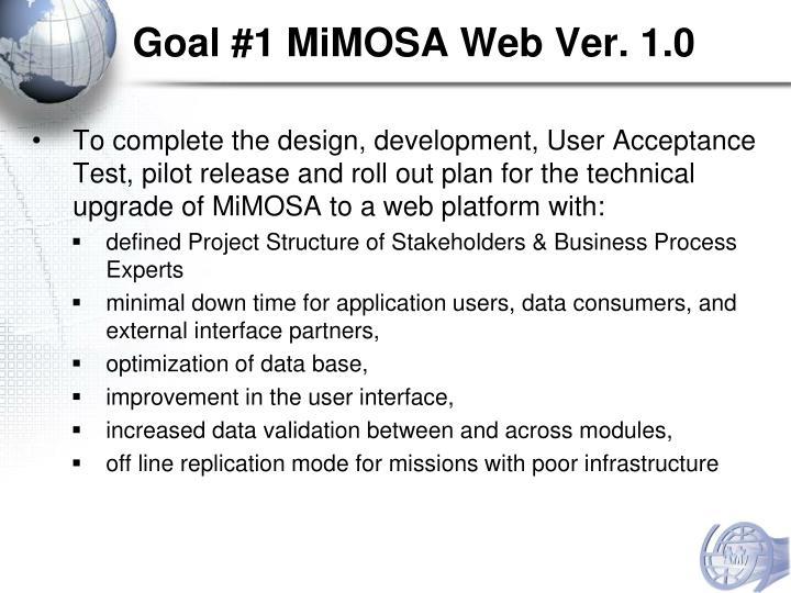 Goal #1 MiMOSA Web Ver. 1.0