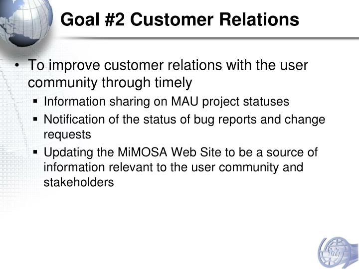 Goal #2 Customer Relations